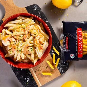 Penne al limone com camarões