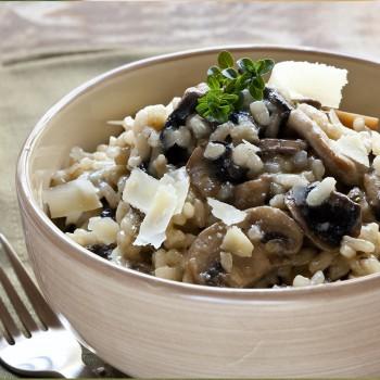 Risoto com cogumelos e tomilho
